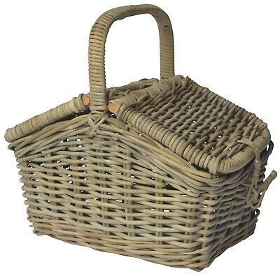 Traditional Grey Rattan Wicker Picnic Basket With Handle