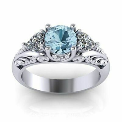 Antique Style Aquamarine Ring Floral Engagement Promise 925 Sterling Silver