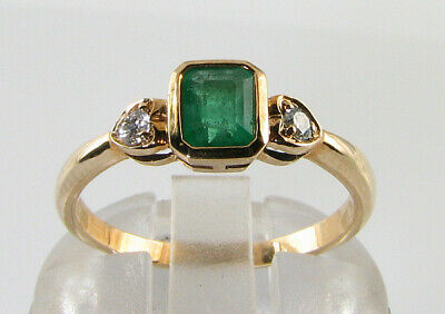 Dainty 9K 9Ct Gold Colombian Emerald Diamond Art Deco Ins Heart Ring Free Resize