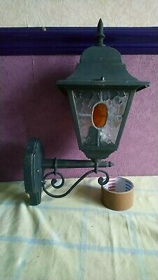 Leaded Lantern Outdoor outside  Wall Light Stained glass panel shade