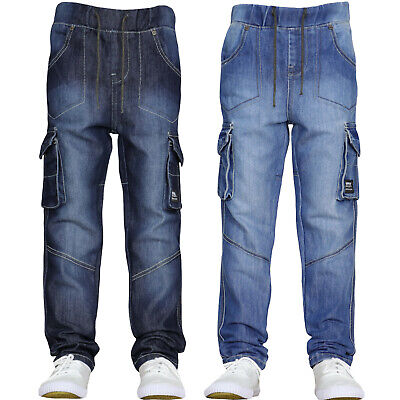 New Boys Cargo Jeans Combat Designer Elasticated Waist Pull On Pants Jogger