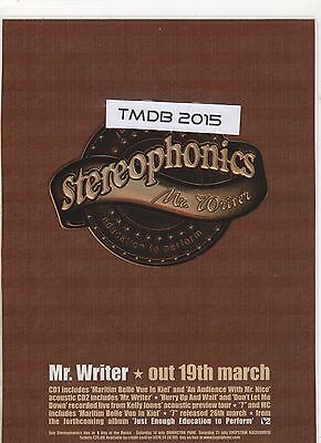 ☆☆ STEREOPHONICS MR WRITER  CD SINGLE RARE Original MAGAZINE A4 Poster ☆☆ 005