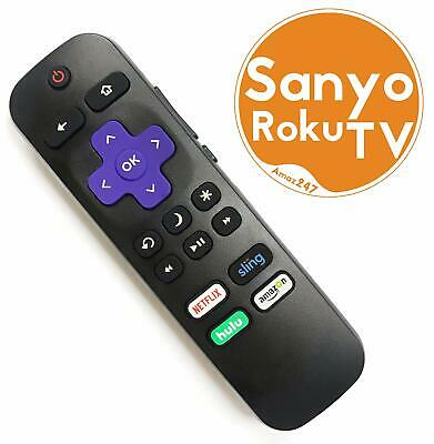 Replacement Remote FIT for  SANYO ROKU TV w/ Volume Control & TV Power Button