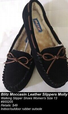 Blitz Slippers Moccasin Molly Walking Slipper Leather Shoes Black Women Size 13