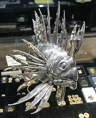 STERLING SILVER LION FISH Sculpture Fratelli Lisi Bros Florence, Italy 6000 USD