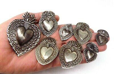 ANTIQUE LOT OLD 8 Sacred Heart Jesus Ex Voto MIRACLE MILAGRO SILVERED J-38
