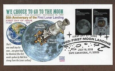 2019 - 50Th Anniversary Moon Landing ~ Glen Cachet First Day Cover #2