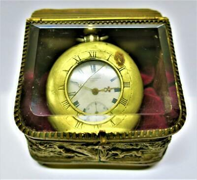 Antique Continental SMALL POCKET WATCH HOLDER - Hunting Scenes  & Glass Lid