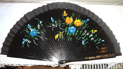 Stunning Antique Hand Painted Hand Fan