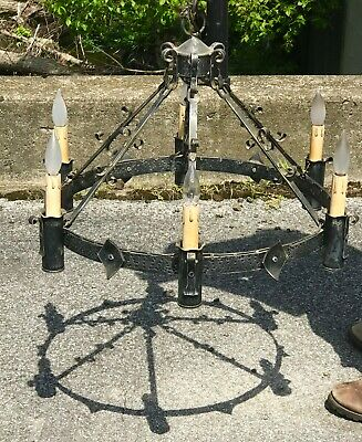 Vtg Wrought Iron Gothic Chandelier Antique Medieval Style Porch Ceiling Fixture
