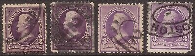 Scott #221 Early US Postage Stamps Lot of 4 Jackson 3c w/ Inverted Boston Cancel