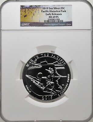 2019 5oz SILVER 25C Pacific Historical Park NGC MS 69PL Early Releases must see!