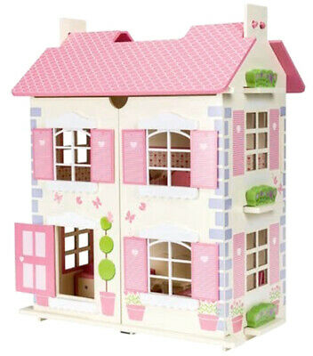 Wooden Dolls House 3 Floors with 7PCs Furnitures Toy Alice Dollhouse - Cream
