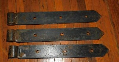 3 Primitive Hand Forged Steel Barn Door Gate Strap Hinges Hardware Steampunk