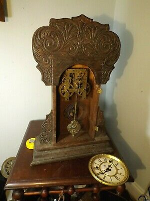 "Antique EARLY Waterbury ""AMHERST"" Gingerbread 8 Day Mantle Clock For Restoration"