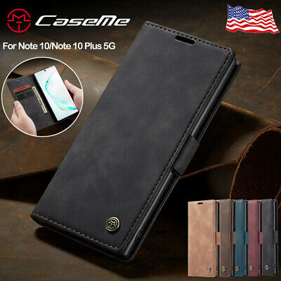 For Samsung Galaxy Note 10 Plus 5G Phone Case Leather Magnetic Flip Wallet Cover