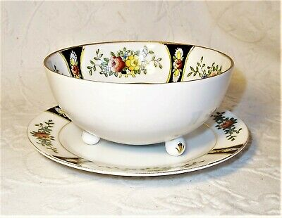 antique Morimura Noritake rose paneled footed bowl with matching underplate euc