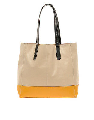NWT £65 Designer OASIS LONDON Genuine LEATHER Large Tote Bag French Mustard Blk