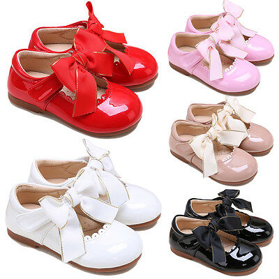 Toddler Girls Wedding Party Shoes Fashion Bow Spanish Flats Bridesmaid Communion