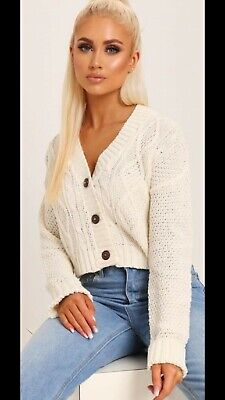 Cable Knit Chucky Cardigan in Pink RRP £29.99