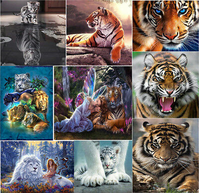 UK Tiger Cat DIY 5D Diamond Painting Animal Embroidery Cross Stitch Decor Good