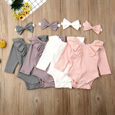 UK STOCK Newborn Baby Girl Solid Ruffle Romper Bodysuit Outfits Knitted Clothes