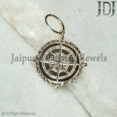 Victorian Style Solid 14k Yellow Gold Star Charm Pendant Fine Jewelry Gifts