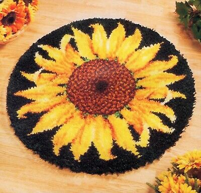 FLORAL SUNFLOWER FLOWER LATCH HOOK RUG KIT, BRAND NEW and UK Seller