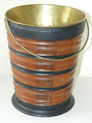 Antique Mid 19th Century Dutch Wooden / Ebonised Bucket + Brass Liner