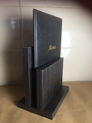 Wooden Menu Holder black leaflet stand restaurant pub table display pocket A4 A5