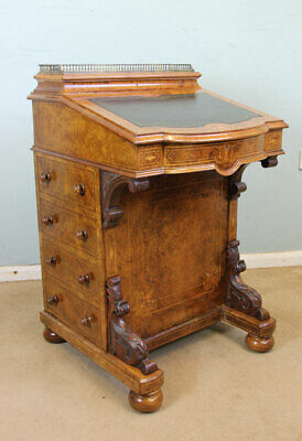 Antique Victorian Inlaid Burr Walnut Davenport Writing Desk