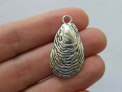 6 Shell connector charm antique silver tone FF427