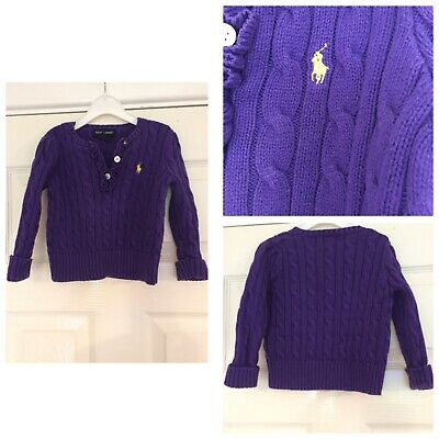 Polo Ralph Lauren Infant Girls Cable Knit Cardigan Sweater 24 Months Purple (694