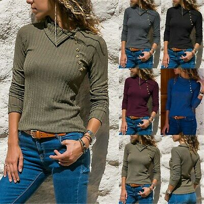 Women Ladies Long Sleeve Collared Rib Knitted T-Shirt Blouse Pullover Jumper Top