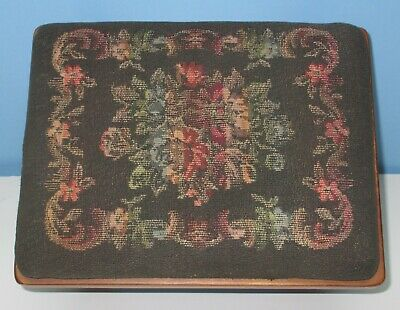 Antique/Vintage Small Floral Needlepoint Solid Wood Foot Stool