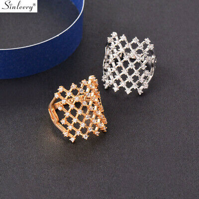 Big Hollow Square Gold Sliver Cubic Zirconia Wide Ring Cocktail Fashion Jewelry