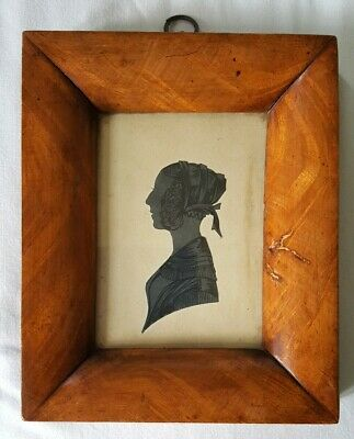 AUTHENTIC FRAMED ANTIQUE HAND PAINTED SILHOUETTE PORTRAIT 19th century