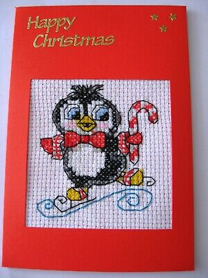 Christmas Card Completed Cross Stitch Penguin & Cain 6x4""