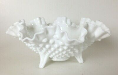 """Vintage HOBNAIL WHITE MILK GLASS FOOTED CANDY BOWL 3 Toed DISH 8"""""""