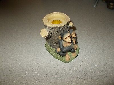 Chimpanzee Monkey themed molded resin 3 11/16 tall decorative candle holder used