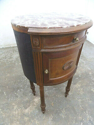 antique,victorian,marble,round,cabinet,cupboard,side,table,turned legs,drawer