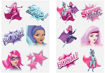 Childrens Temporary Tattoos Fun Party Bag Fillers Super Girl Boys Girls Kids
