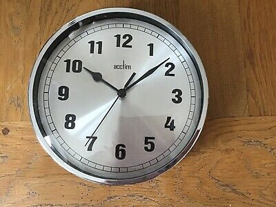 ACCTIM Ruden Clock - Chrome Silver Spun Dial and Domed Glass 21cm