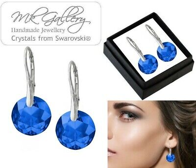 925 Silver Earrings 14mm  CLASSIC CUT Crystals from Swarovski® Colours