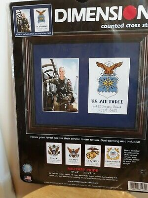 10 x 8 DIMENSIONS Military Pride Personalized Counted Cross Stitch and Photo Mount