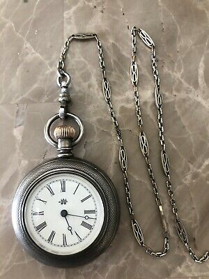 Antique Coin Silver Ladies Waltham Pocket Watch With Chain. B
