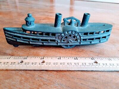 Rare Riverboat Arcade Cast Iron Dime Bank Steam Boat Rolling Wheels Still Bank