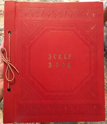 Vintage Red Embossed Scrapbook Photo Album 1960's