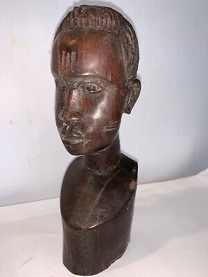 Hard Wood Carved Head/Bust Tribal Face Statue African Man Vtg