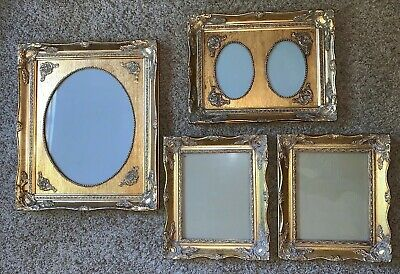 Vintage Lot 4 Baroque Ornate Gold Gilt Wood Picture Frames Double Oval 3 Sizes !